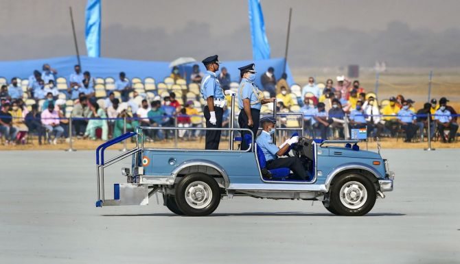 IAF Chief Air Chief Marshal RKS Bhadauria inspects a guard of honour during the 88th Air Force Day celebrations.
