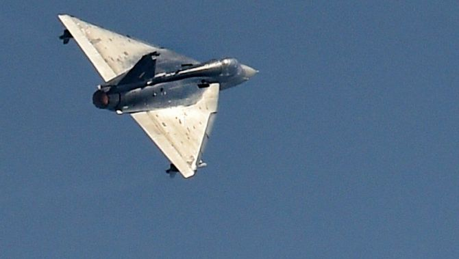 Tejas fighter aircraft of the Indian Air Force during the 88th Indian Air Force Day celebrations.