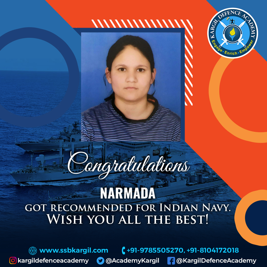 CONGRATULATIONS TO NARMADA Got Recommended for Indian Navy