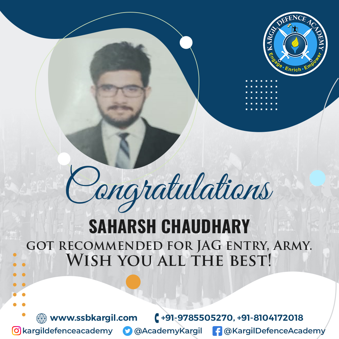 Saharsh Chaudhary Got Recommended For JAG Entry, Army
